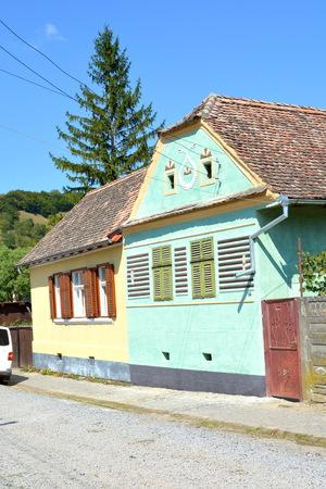 transylvania: Typical houses in the saxon village Malancrav, Transylvania. Stock Photo