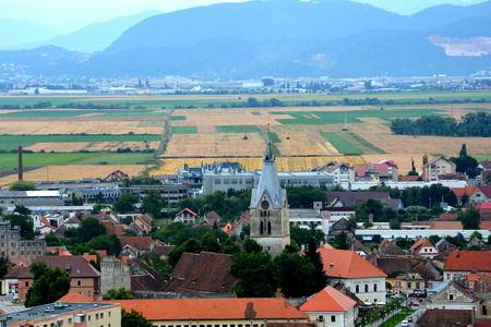 Aerial view of the town Codlea, Transylvania