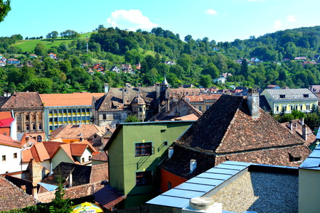 arhitecture: Aerial view. Urban landscape in the downtown of the medieval Sighisoara, Transylvania.