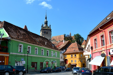sunday market: Urban landscape in the downtown of the medieval Sighisoara, Transylvania.