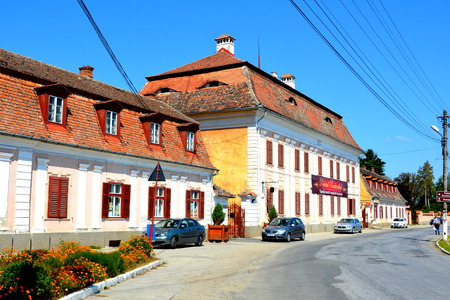 arhitecture: Palace brukenthal near the Medieval fortified church in Avrig, Sibiu, Transylvania. Evangelical Church is a collection of historical monuments located in the city , centuries XI - XVI.