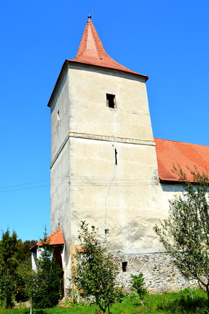 Tower of the Medieval fortified church in Avrig, Sibiu, Transylvania.