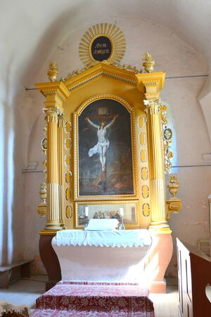 Inside Medieval fortified church in Avrig, Sibiu, Transylvania. Evangelical Church is a collection of historical monuments located in the city , centuries XI - XVI.