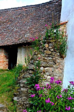Courtyard of the fortified medieval church in the village Viscri, Transylvania. Stock Photo
