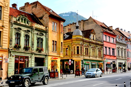 Typical urban landscape in Brasov, Transylvania. Brasov is a town situated in Transylvania, Romania, in the center of the country. 300.000 inhabitants.