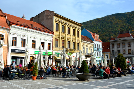brasov: Market square in Brasov, Transylvania. Brasov is a town situated in Transylvania, Romania, in the center of the country. 300.000 inhabitants.