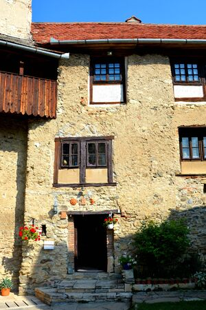 main entrance: Inside the medieval fortified saxon church in Calnic, Transylvania.