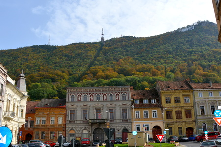 brasov: Typical urban landscape in Brasov, Transylvania. Brasov is a town situated in Transylvania, Romania, in the center of the country. 300.000 inhabitants.