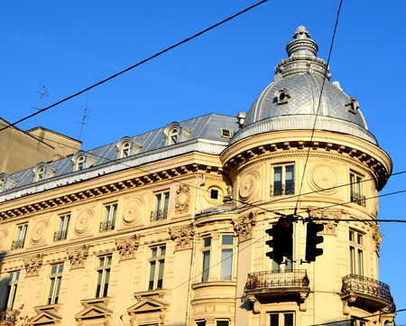 Typical urban landscape in the centre of Bucharest-Bucuresti. Bucharest is the capital of Romania. Bucharest have 3 millions inhabitants and many historical vestiges. Stock Photo