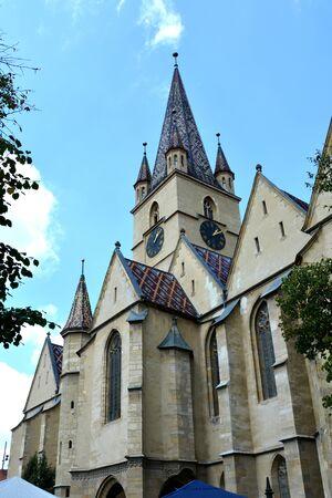Evanghelic church. Typical urban landscape in the city Sibiu, Transylvania.