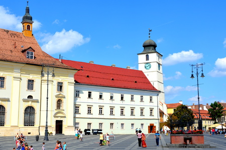 Market Square. Typical urban landscape in the city Sibiu, Transylvania. Sibiu is one of the most important cultural centres of Romania and was designated the European Capital of Culture for the year 2007, along with the city of Luxembourg.