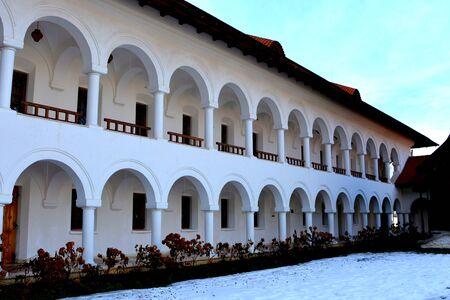 Courtyard of Monastery Sambata. Fagaras, Transylvania. Monastery Sambata is a Romanian Orthodox monastery in Sambata de Sus, Brasov County, in the Transylvania region of Romania. Stock Photo
