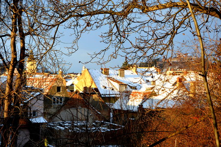 Typical winter urban landscape in the city Brasov, Transylvania. Brasov is a town situated in Transylvania, Romania, in the center of the country. 300.000 inhabitants.