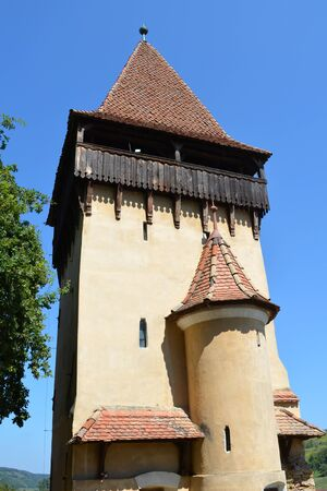 Tower.  Fortified medieval church Biertan, Transylvania. Biertan is one of the most important Saxon villages with fortified churches in Transylvania. The Biertan fortified church was the see of the Lutheran Evangelical Bishop in Transylvania between 1572