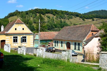 Typical houses in the village Malancrav, Transylvania. Editorial