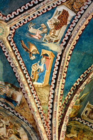 Icons in the church. Fortified medieval church in the village Malancrav, Transylvania. Here some of the most significant Gothic murals in Transylvania. The Saxon Romanesque Lutheran church has early 14th-century Gothic murals in the apse. 15th-century one