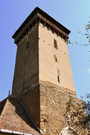romanesque: Tower. Fortified medieval church in the village Malancrav, Transylvania. Here some of the most significant Gothic murals in Transylvania. The Saxon Romanesque Lutheran church has early 14th-century Gothic murals in the apse. 15th-century ones are found in