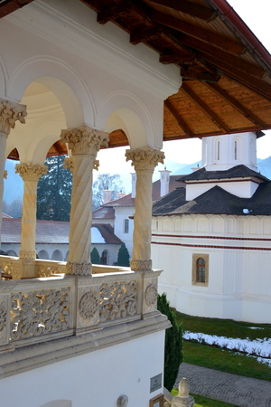 monastery: Courtyard of the monastery. Monastery Sambata is a Romanian Orthodox monastery in S�mb?ta de Sus, Bra?ov County, in the Transylvania region of Romania. Dedicated to the Dormition of the Mother of God, it is also known as the Br�ncoveanu Monastery M?n?stir