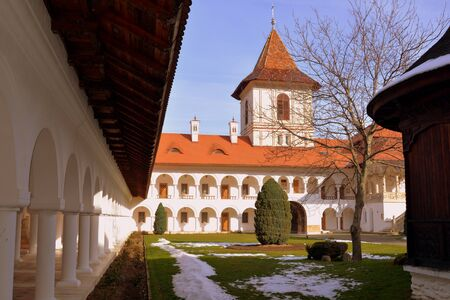 monastery: Inside the monastery. Monastery Sambata is a Romanian Orthodox monastery in Sambata de Sus, Brasov County, in the Transylvania region of Romania. Dedicated to the Dormition of the Mother of God, it is also known as the Brancoveanu Monastery Maastirea Bran