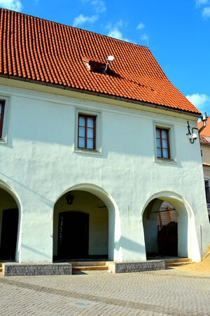 suggestive: Typical urban landscape in the city Sibiu, Transylvania Sibiu is one of the most important cultural centres of Romania and was designated the European Capital of Culture for the year 2007, along with the city of Luxembourg. Stock Photo