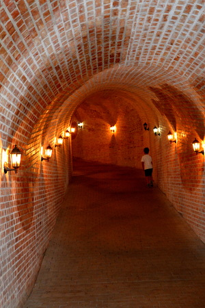central european: Tunnel in medieval fortress Alba Iulia, Transylvania. The modern city is located near the site of the important Dacian political, economic and social centre of Apulon, which was mentioned by the ancient Greek geographer Ptolemy. Alba Iulia is an important