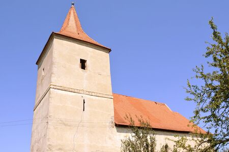 main entrance: Medieval fortified church in Avrig, Sibiu county, Transylvania. In Avrig there are a collection of historical monuments.Centuries XI - XVI. Stock Photo