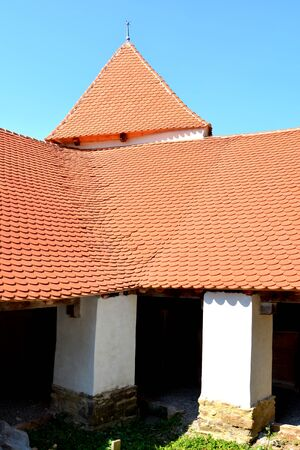 the courtyard: Courtyard of the fortified medieval church in Dirjiu, Transylvania Stock Photo