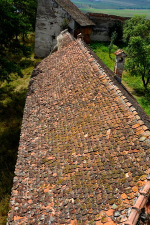 the courtyard: Courtyard of the medieval saxon fortified church Ungra, Transylvania.