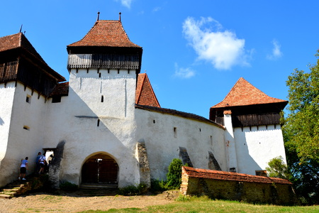 Fortified medieval saxon church in the village Viscri, Transylvania. .Viscri is known for his fortified church. The fortified church in this village was built around 1100 AD. It is part of a area if villages with fortified churches in Transylvania, design