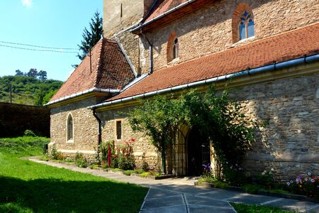 Fortified medieval church in the village Malancrav, Transylvania. Here some of the most significant Gothic murals in Transylvania. The Saxon Romanesque Lutheran church has early 14th-century Gothic murals in the apse. 15th-century ones are found in the na