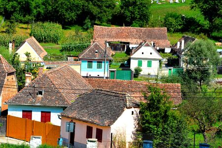 Aerial view of the village Malancrav, Transylvania.