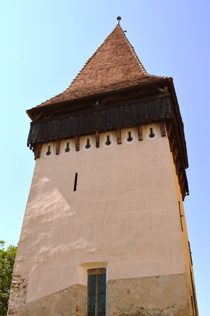 Tower. Fortified medieval church Biertan, Transylvania. Biertan is one of the most important Saxon villages with fortified churches in Transylvania. Stock Photo