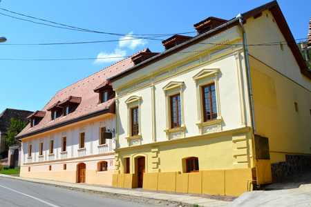 Typical houses in the village Biertan, Transylvania. Stock Photo