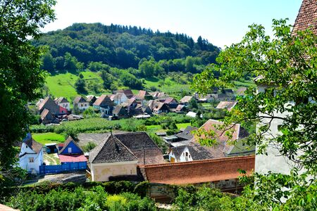 Aerian view of the village Biertan, Transylvania.
