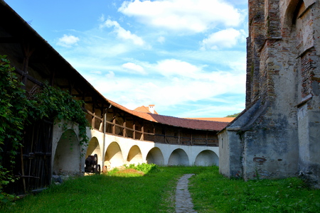 Courtyard. Fortified medieval church in Vineyard Valley, Transylvania Valea Viilor fortified church is a Lutheran fortified church in Valea Viilor (Wurmloch), Sibiu County, in the Transylvania region of Romania. It was built by the ethnic German Transylva