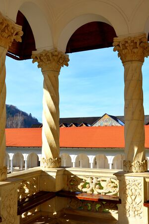 main entrance: Monastery Sambata is a Romanian Orthodox monastery in Sambata de Sus, Brasov County, in the Transylvania region of Romania. Dedicated to the Dormition of the Mother of God, it is also known as the Brancoveanu