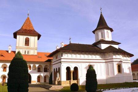 monastery: Main church. Monastery Sambata is a Romanian Orthodox monastery in Sambata de Sus, Brasov County, in the Transylvania region of Romania. Dedicated to the Dormition of the Mother of God, it is also known as the Brancoveanu Stock Photo