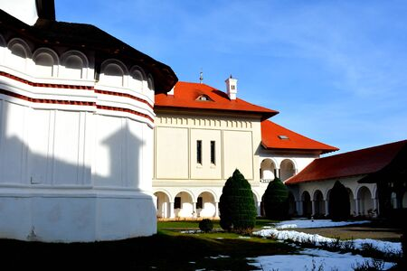 Courtyard.  Monastery Sambata is a Romanian Orthodox monastery in Sambata de Sus, Brasov County, in the Transylvania region of Romania. Dedicated to the Dormition of the Mother of God, it is also known as the Brancoveanu