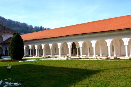 the courtyard: Courtyard. Monastery Sambata is a Romanian Orthodox monastery in Sambata de Sus, Brasov County, in the Transylvania region of Romania. Dedicated to the Dormition of the Mother of God, it is also known as the Brancoveanu