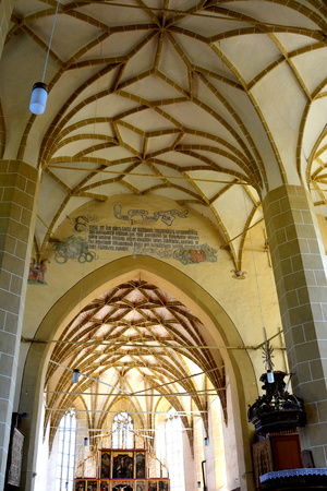 Vaults. Fortified medieval church Biertan, Transylvania. Biertan is one of the most important Saxon villages with fortified churches in Transylvania. The Biertan fortified church was the see of the Lutheran Evangelical Bishop in Transylvania between 1572