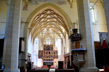 Inside the church. Fortified medieval church Biertan, Transylvania. Biertan is one of the most important Saxon villages with fortified churches in Transylvania. The Biertan fortified church was the see of the Lutheran Evangelical Bishop in Transylvania be