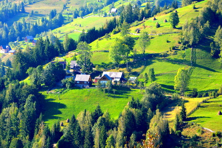 Landscape in Apuseni Mountains, Transylvania The Apuseni Mountains is a mountain range in Transylvania, Romania, which belongs to the Western Romanian Carpathians, also called Occidentali in Romanian. The Apuseni Mountains have about 400 caves. Stock Photo