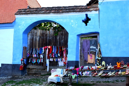 Typical houses in the village Viscri, Transylvania. .Viscri is known for his fortified church. The fortified church in this village was built around 1100 AD. It is part of a area if villages with fortified churches in Transylvania.
