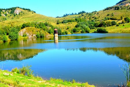 main entrance: Lake in Rosia Montana.  Gold mine Rosia Montana, Transylvania