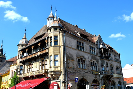 Medieval city Sighisoara. Urban landscape in the downtown of the medieval city Sighisoara, Transylvania. Editorial