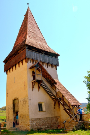 Tower of the medieval fortified church Biertan. Biertan is one of the most important Saxon villages with fortified churches in Transylvania. The Biertan fortified church was the see of the Lutheran Evangelical Bishop in Transylvania between 1572 and 1867.