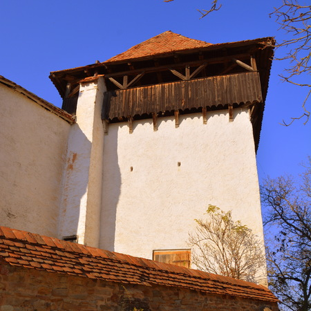 Tower of the church Viscri. Viscri is known for his fortified church. The fortified church in this village was built around 1100 AD. It is part of a area if villages with fortified churches in Transylvania. Editorial