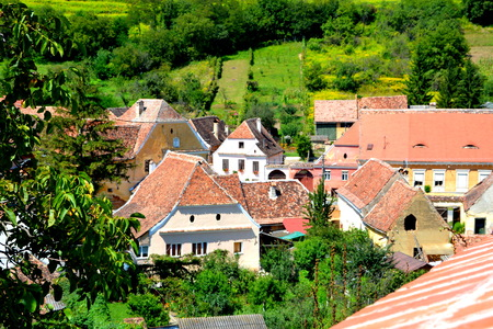 unesco: Aerial view of the village Biertan, Transylvania. Biertan is one of the most important Saxon villages with fortified churches in Transylvania, having been on the list of UNESCO World Heritage Sites since 1993. The Biertan fortified church was the see of t