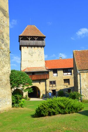 resid: Courtyard of the medieval fortified saxon church in Calnic, Transylvania Câlnic village is known for its castle, which is on UNESCOs list of World Heritage Sites. Câlnic Citadel, first mentioned in 1269, is very well preserved. Built as a nobles resid Stock Photo