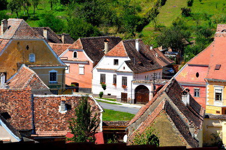 Aerial view of the village Biertan, Transylvania